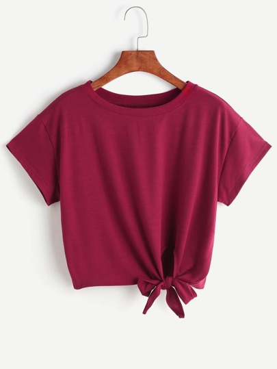 Burgundy Tie Side Crop T-shirt