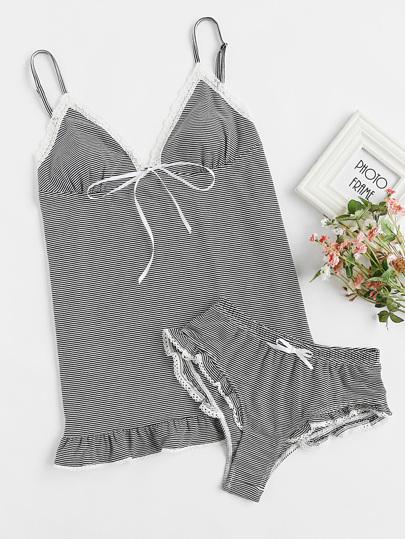 Lace Trim Ruffle Cami And Panty Pajama Set