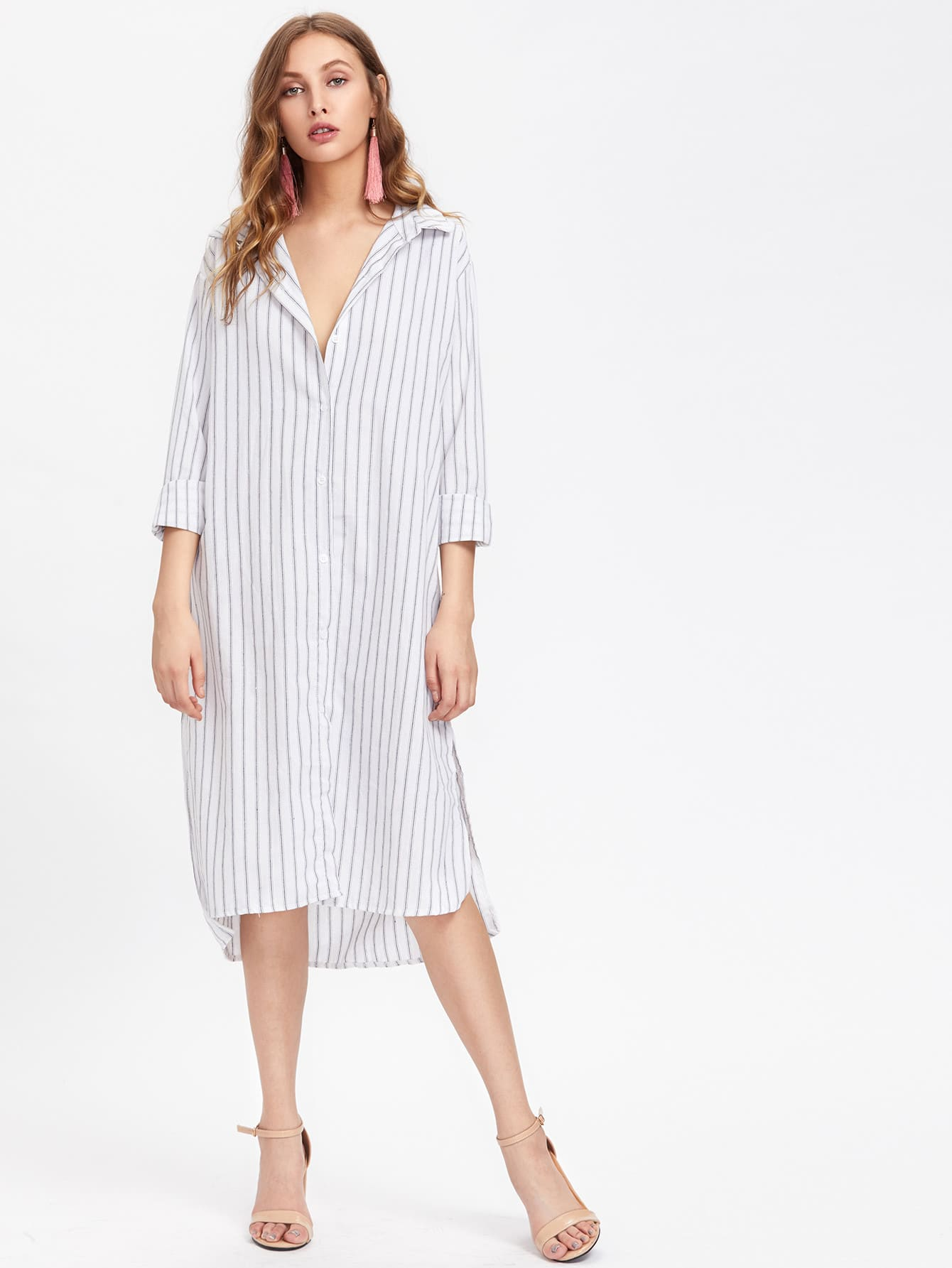 Фото Vertical Striped Slit Side Dip Hem Shirt Dress. Купить с доставкой