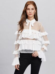 Fluted Sleeve Flounce Lace Top