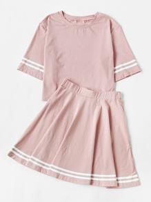 Varsity Trim T-shirt With Skirt