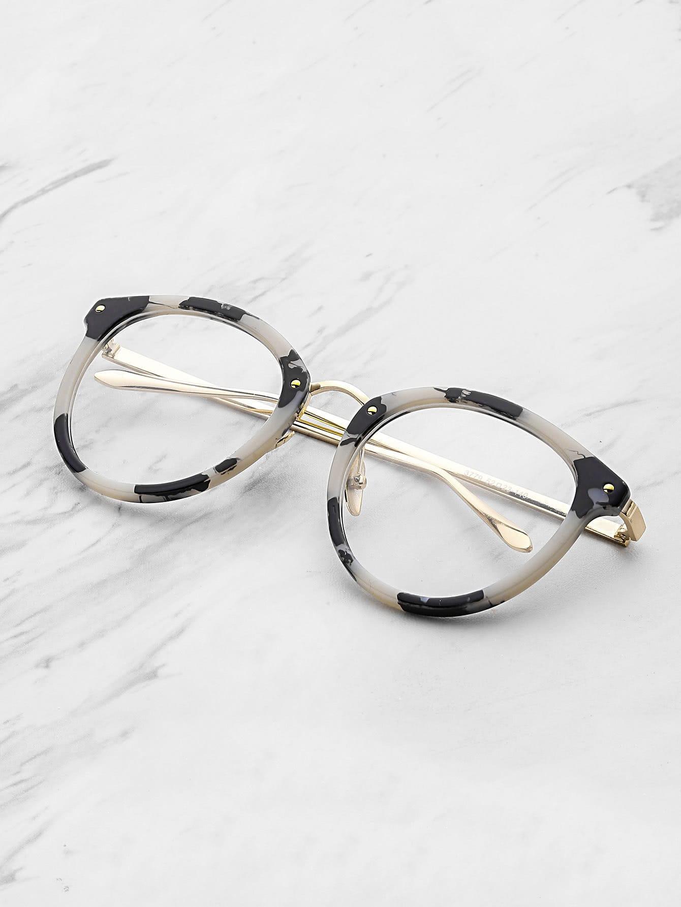 Marble Frame Clear Lens Glasses