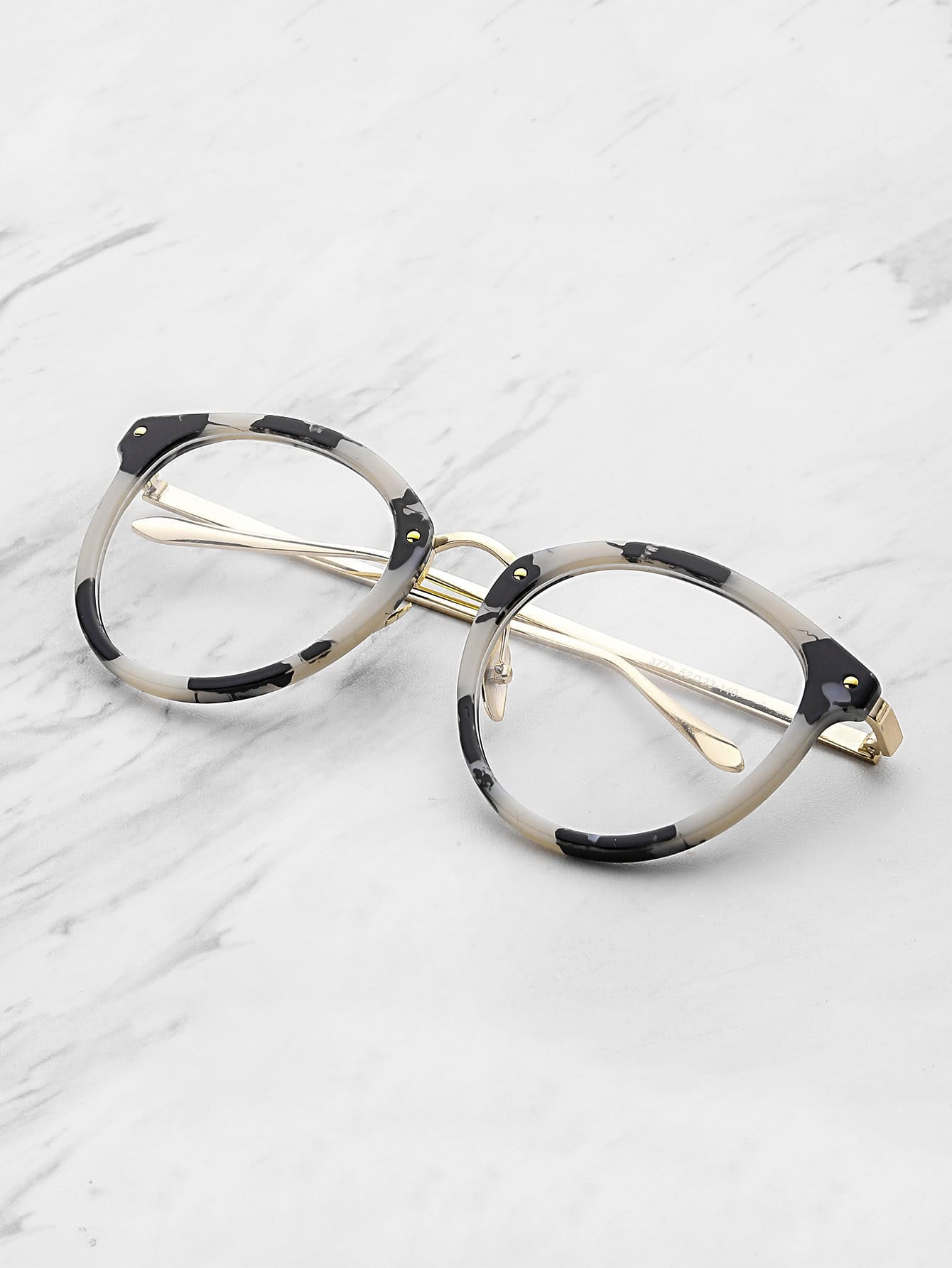 Marble Frame Clear Lens Glasses sunglass170606307