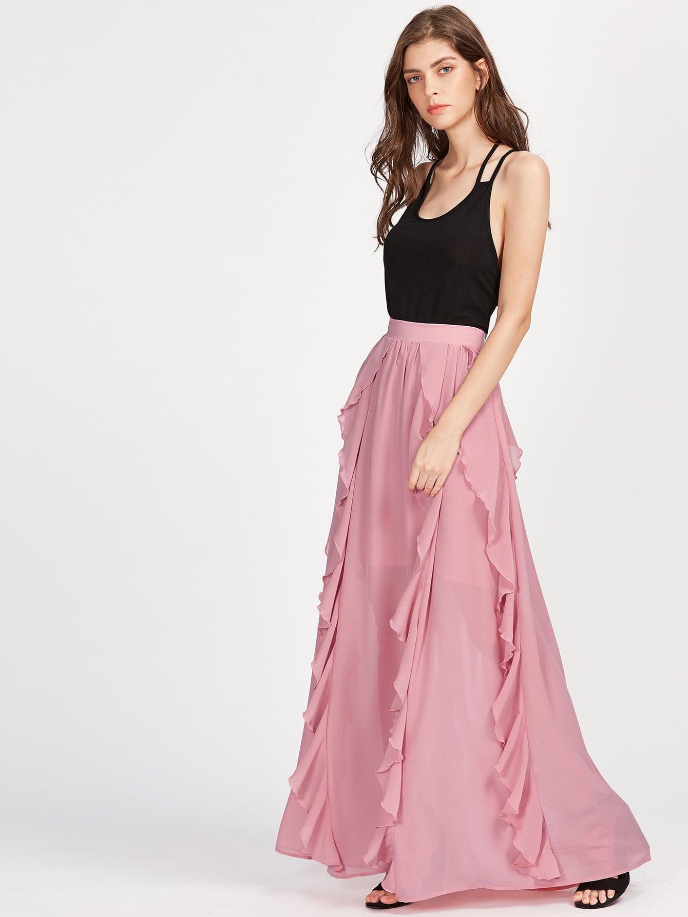 Фото Band Waist Frill Trim Semi Sheer Skirt. Купить с доставкой