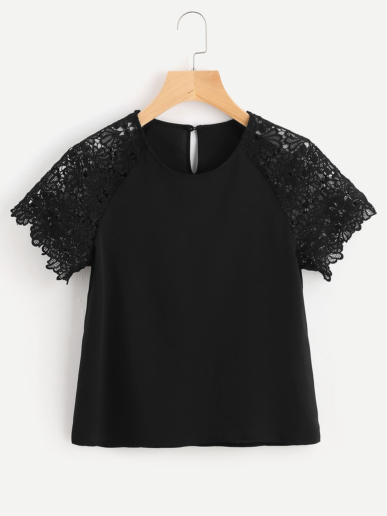 Buttoned Keyhole Back Floral Lace Raglan Sleeve Top