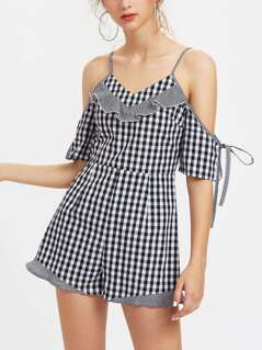 Cold Shoulder Ruffle Trim Checkered Playsuit