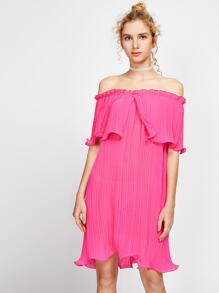 Layered Pleated Lettuce Hem Bardot Dress