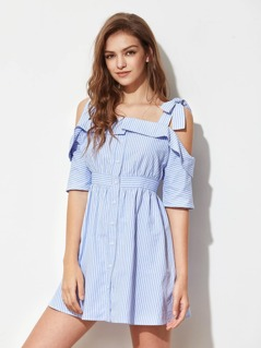 Self Tie Shoulder Foldover Buttoned Placket Dress