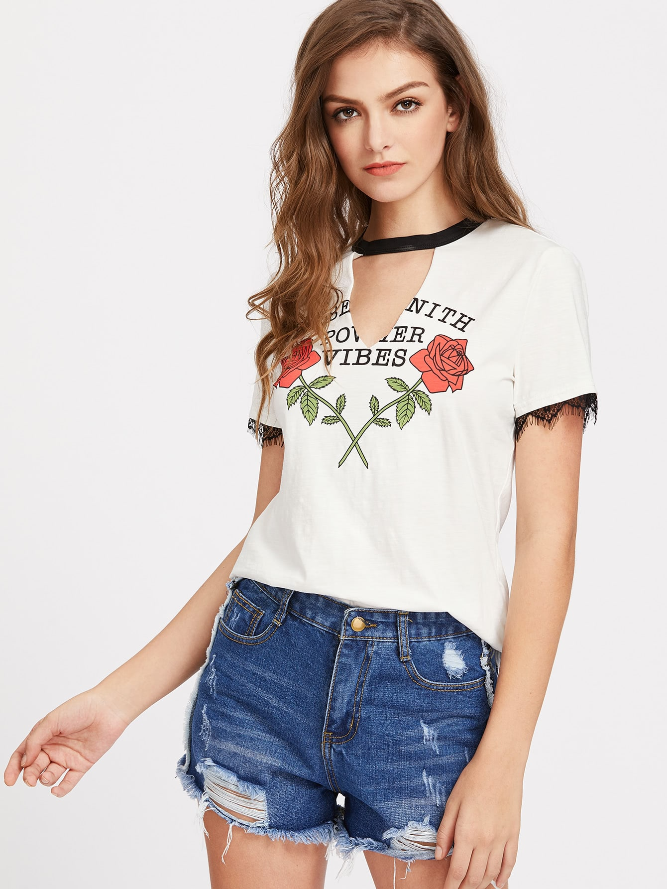 Contrast V Cutout Neck Lace Trim Rose Print Tee