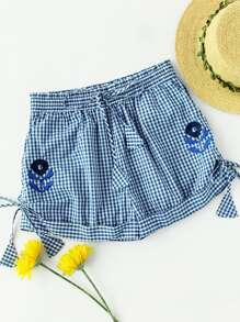 Flower Embroidered Self Tie Cuffed Gingham Shorts