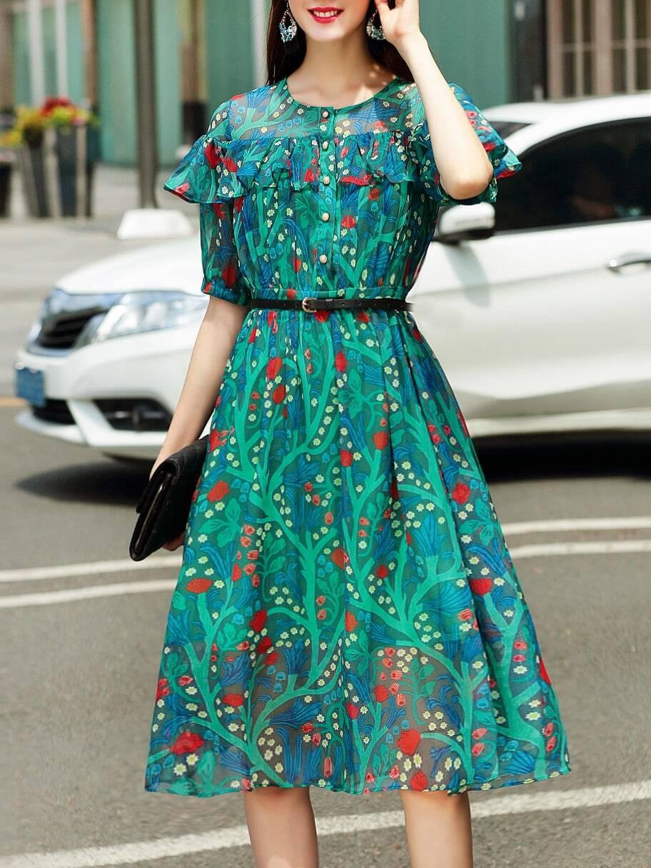 Фото Crew Neck Flounce Floral Dress. Купить с доставкой