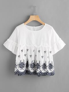 Frilled Trumpet Sleeve Embroidered Smock Top