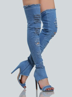 Distressed Open Toe Denim Thigh Highs BLUE DENIM