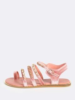 Velvet Chain Sandals MAUVE
