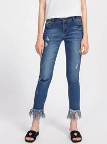 Ripped Detail Fringe Hem Jeans