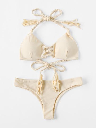 Ensemble de bikini à bretelle tissée avec des franges