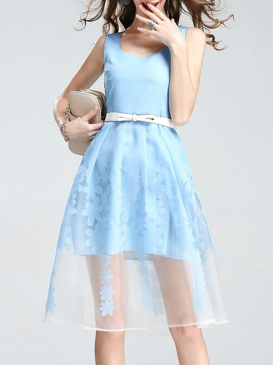 Фото U Neck Belted Organza Print Dress. Купить с доставкой