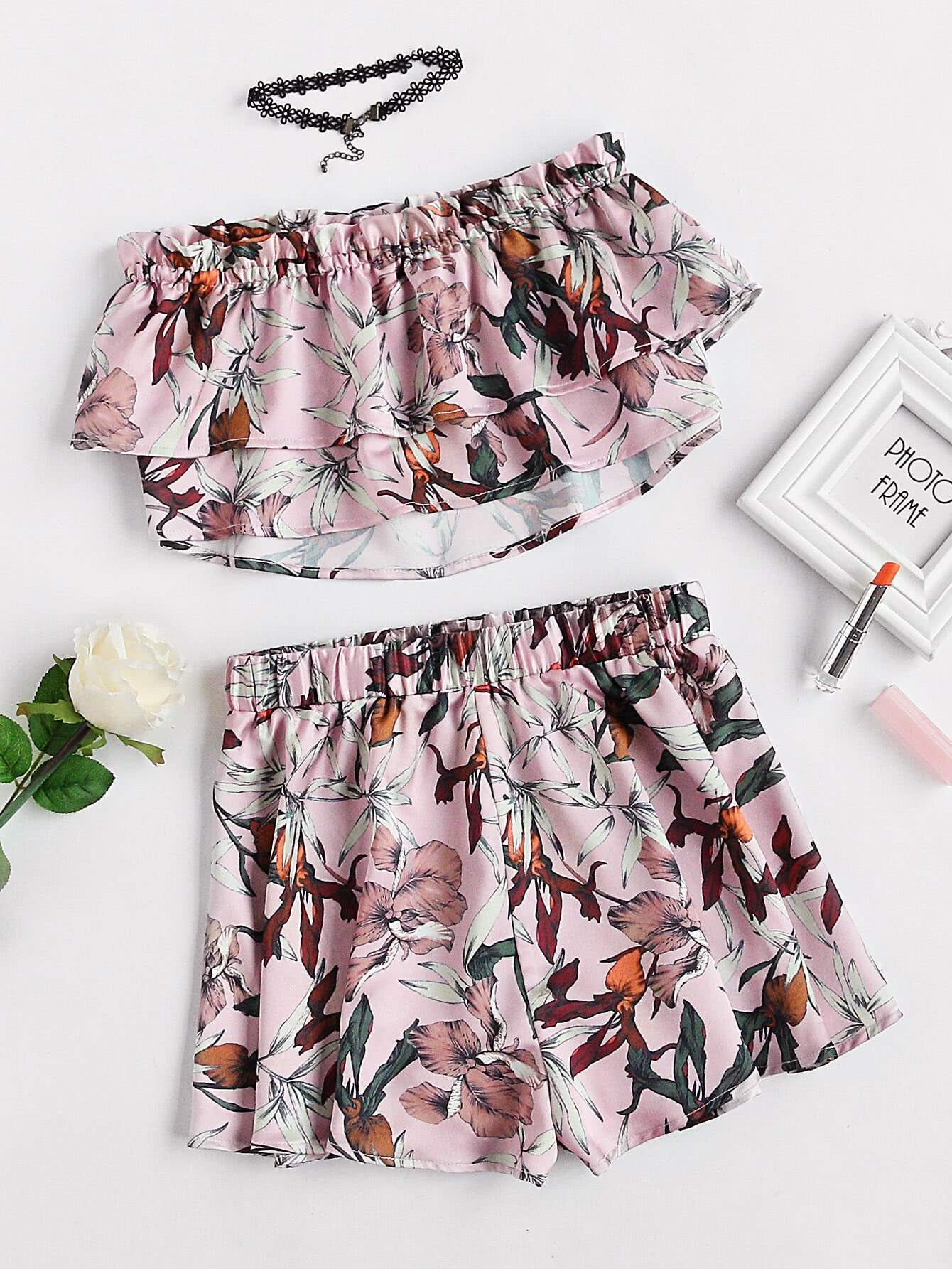 Фото Double Layer Botanical Bandeau Top And Shorts Set. Купить с доставкой