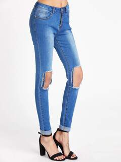 Bleach Wash Cutout Knee Skinny Jeans