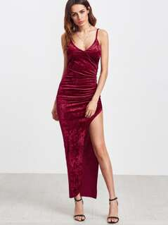 Burgundy Surplice Front Ruched High Slit Velvet Cami Dress