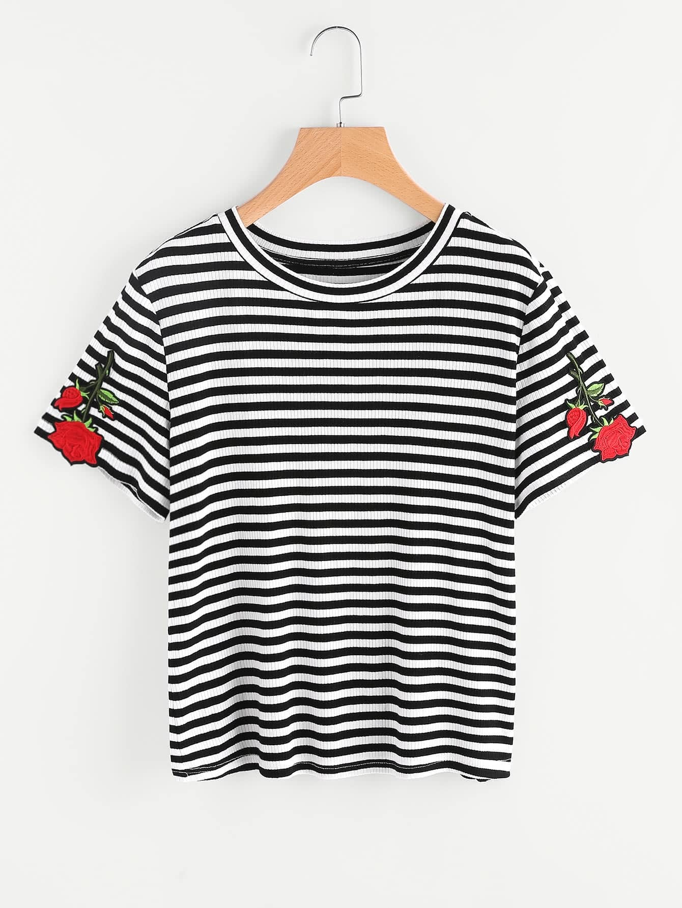Rose Patch Rib Knit Striped Tee