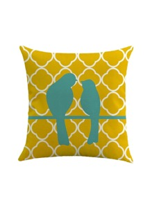 Bird Couple Print Pillowcase Cover