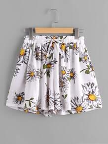Falda-pantalón con estampado y cordón