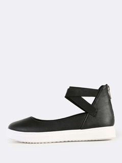 Elastic Strap Faux Leather Shoes BLACK