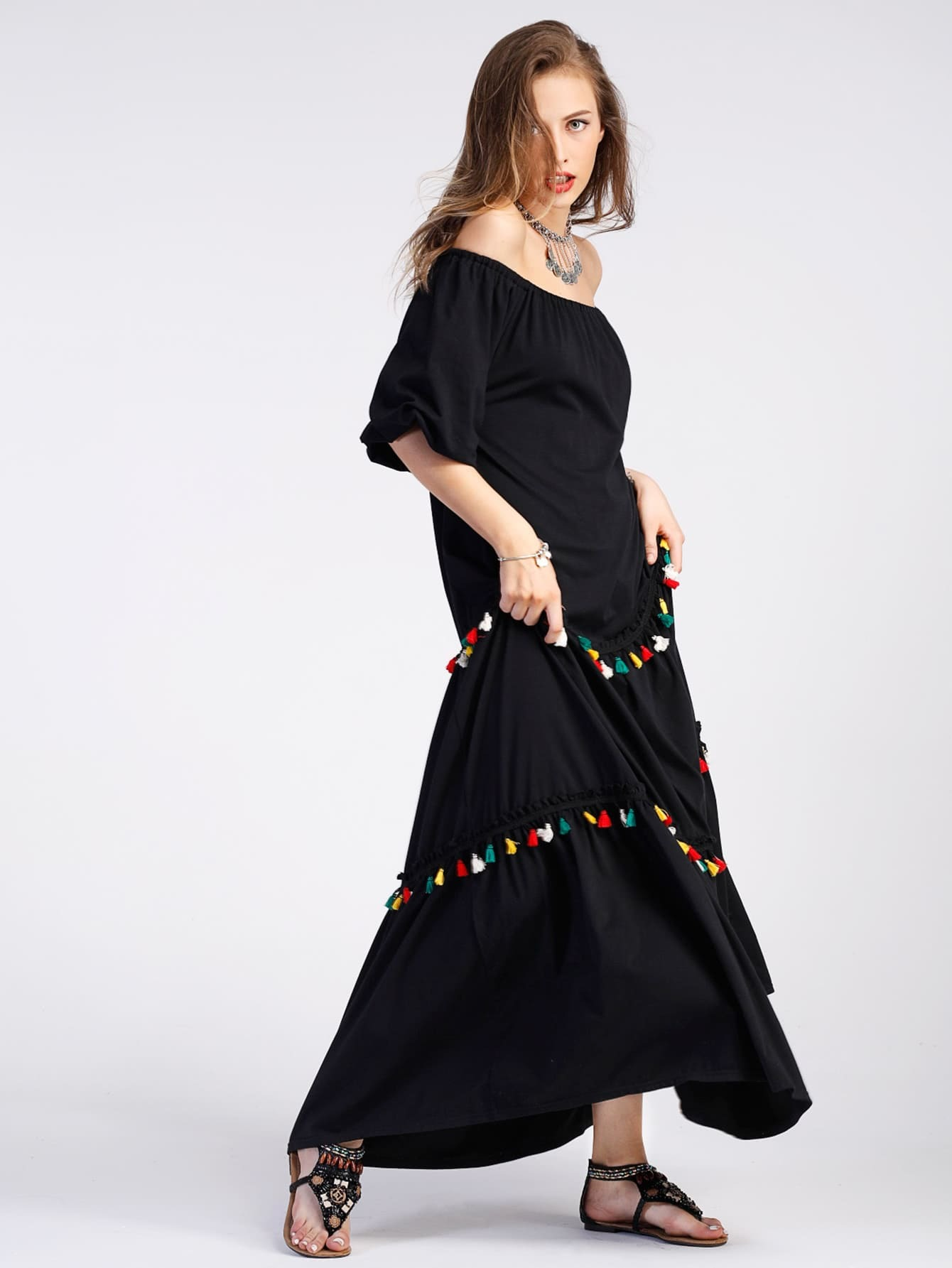 Bardot Tiered Tassel Trim Full Length Dress dress170606121