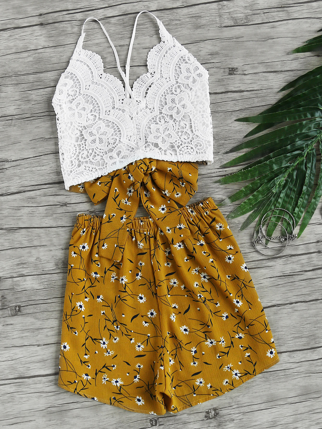 Lace Panel Criss Cross Bow Tie Back Cami Top With Florals Shorts tie back crochet lace cami top