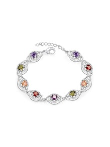 Gemstone Embellished Chain Bracelet