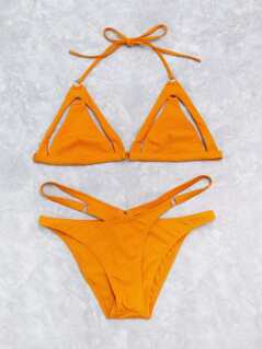 Cutout Detail Cross Triangle Bikini Set