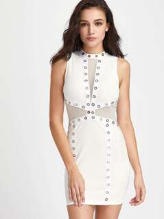 Contrast Mesh Eyelet Detail Dress