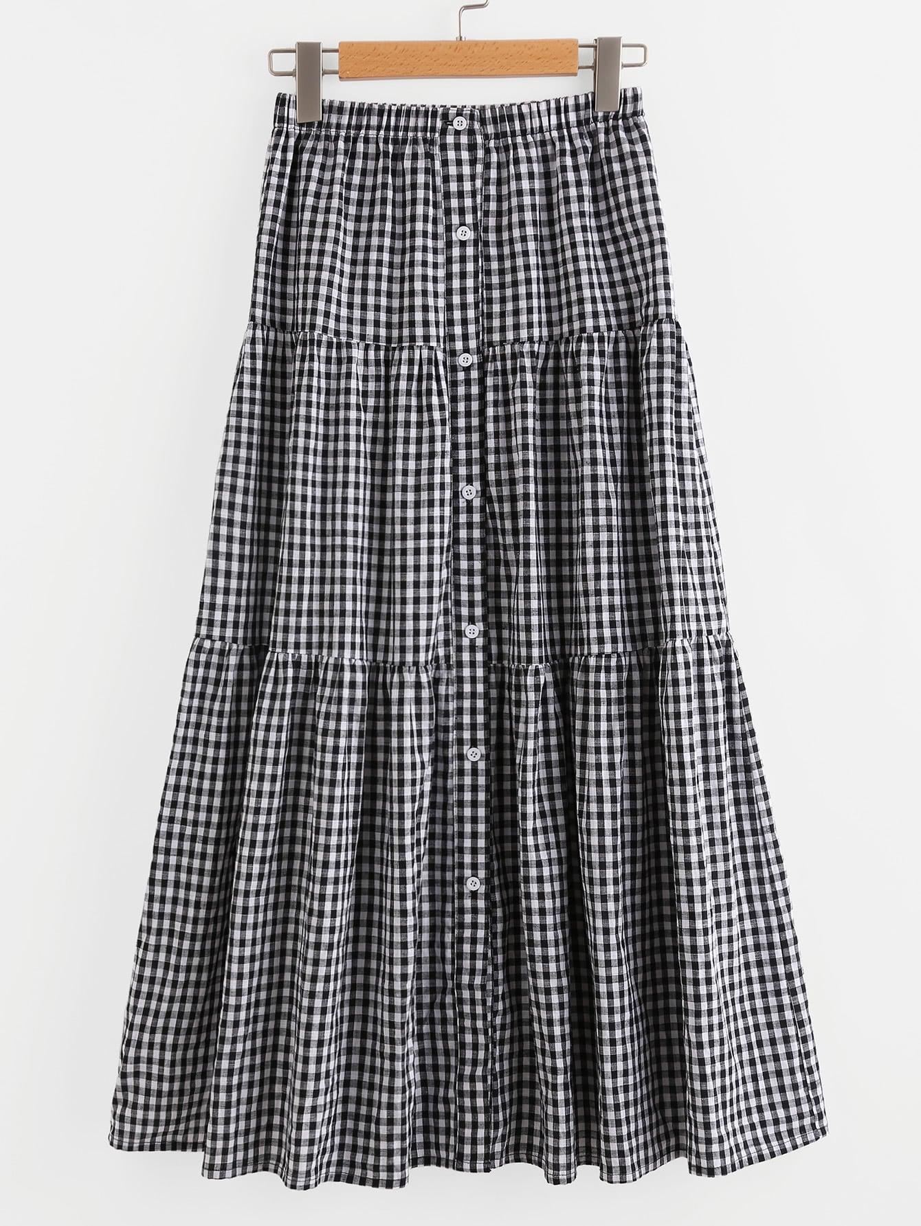 Фото Button Up Tiered Checkered Skirt. Купить с доставкой