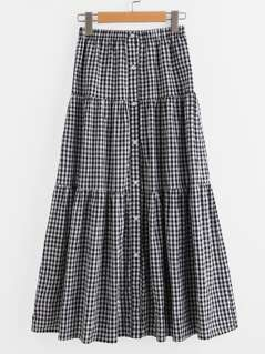 Button Up Tiered Checkered Skirt