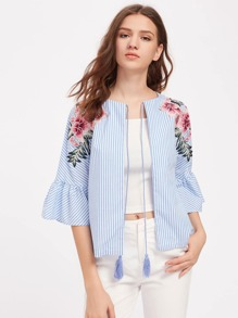 Embroidered Flower Patch Fluted Sleeve Tassel Tie Blouse