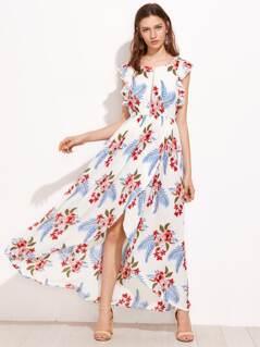 Dotted Crochet Trim Flutter Sleeve Overlap Dress