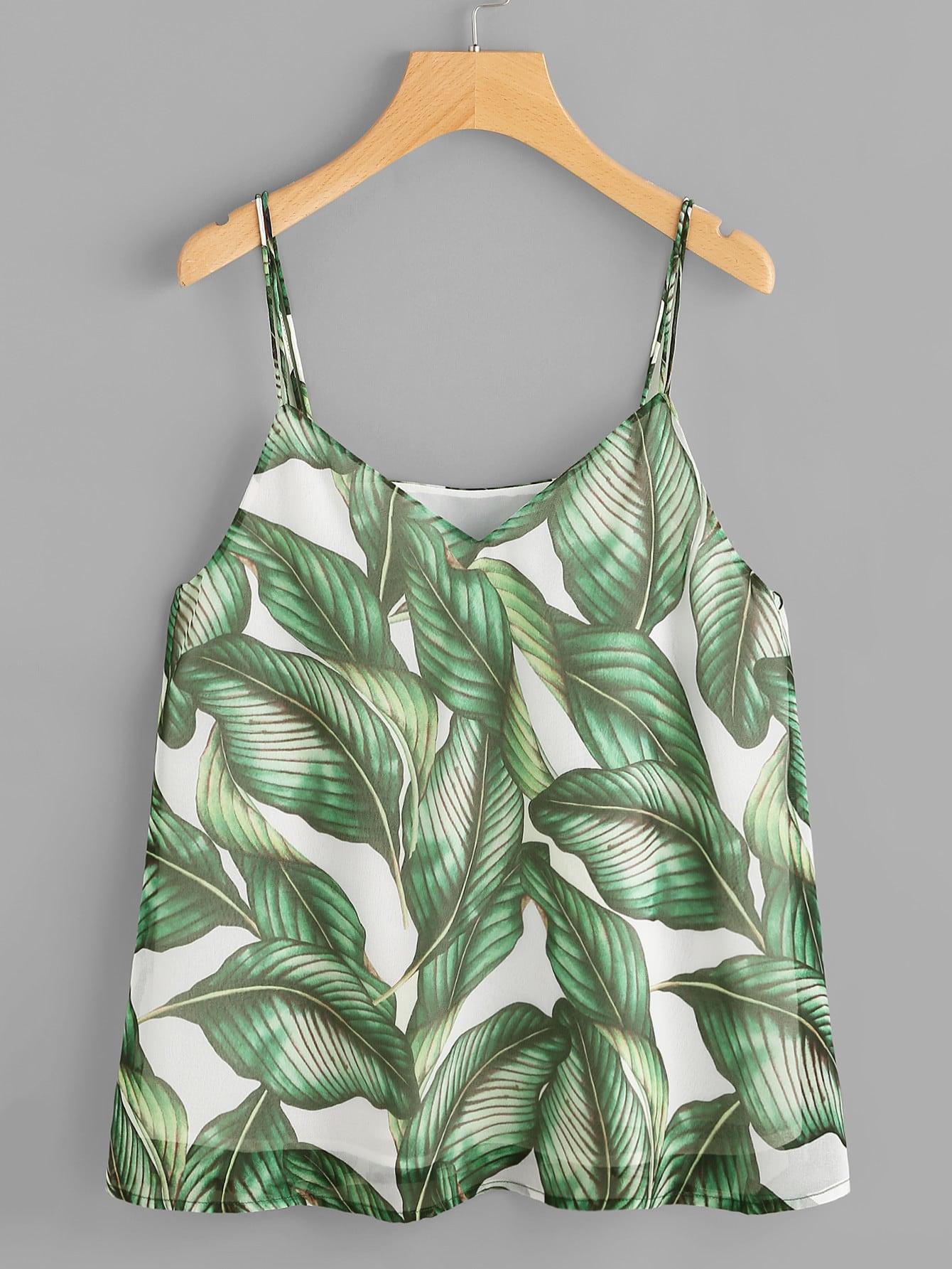 Фото Jungle Leaves Print Cami Top. Купить с доставкой