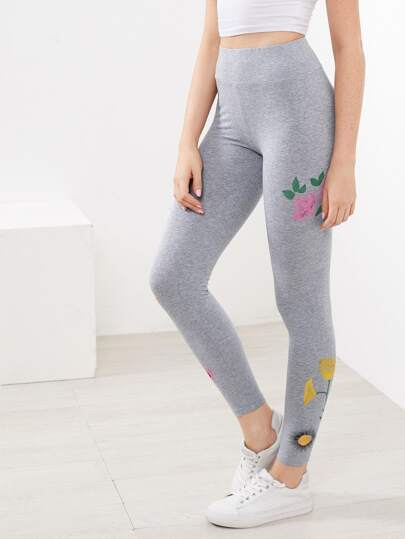 Flower Print Heathered Leggings