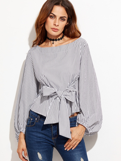 Exaggerated Lantern Sleeve Striped Top