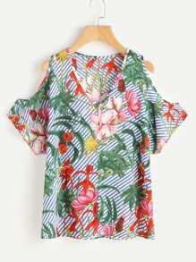 Open Shoulder Stripe Floral Print Random Top