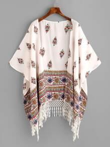 Kimono mit Blumenmuster,Quaste und asymmetrischem Saum