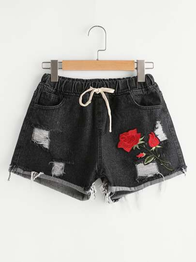 Rose Embroidered Patch Destroyed Cuffed Drawstring Denim Shorts