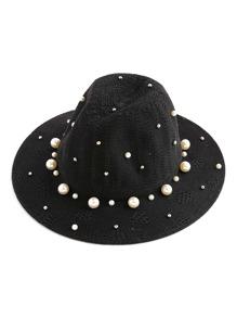Sombrero fedora con adorno de perla de imitación y tachuelas