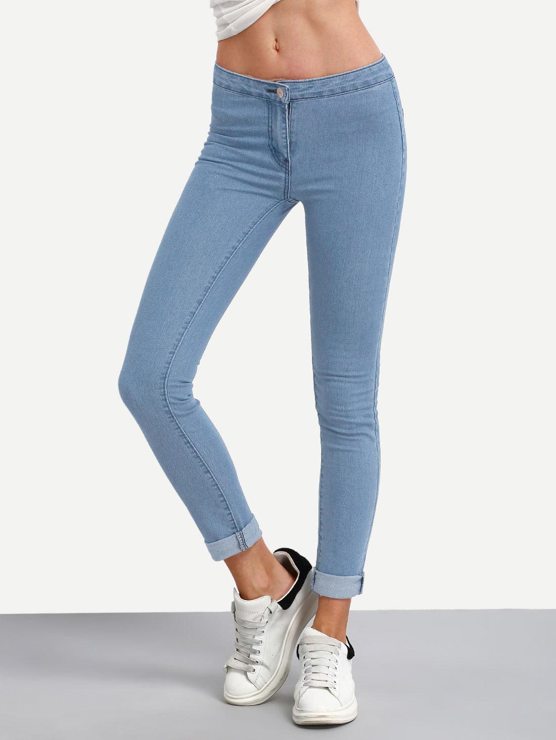 Bleach Wash Roll Hem Skinny Jeans