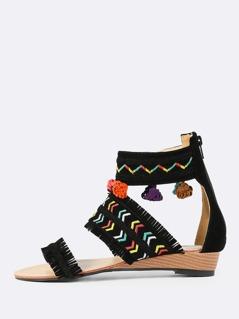 Faux Suede Fringe Wedge Sandals BLACK