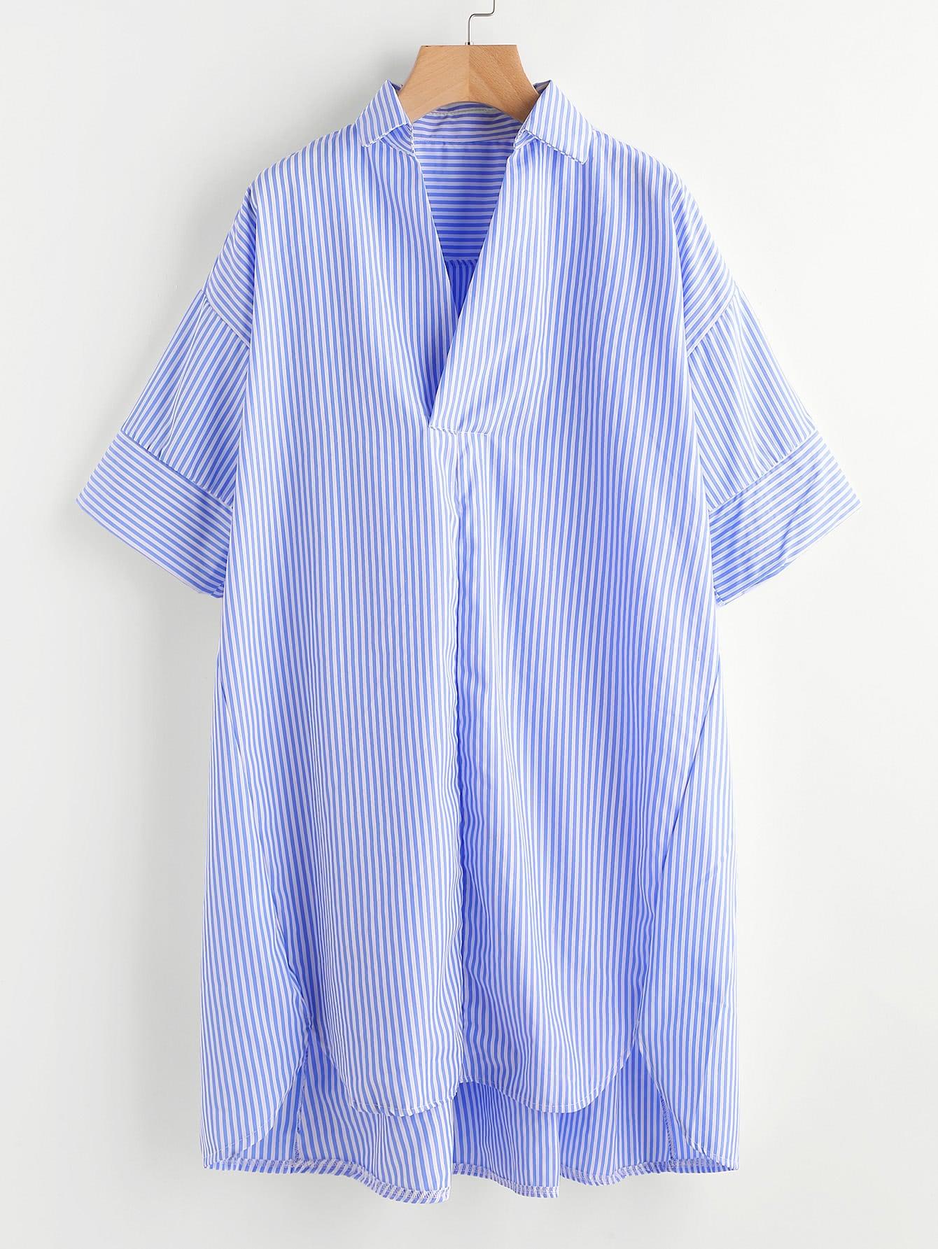 Drop Shoulder Dip Hem Striped Shirt Dress drop shoulder dip hem tee
