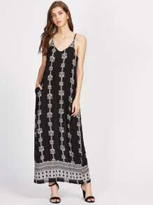Tribal Print Deep-plunge Neck Cami Dress