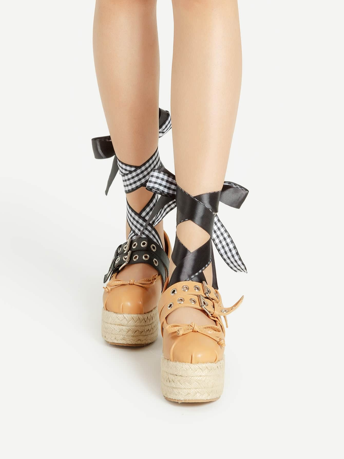 bow tie detail asymmetry design woven wedges emmacloth