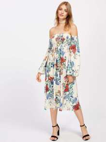 Bardot Floral Backless Shirred Dress